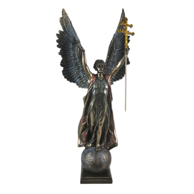 St. Gabriel W/ Cross Of Lorraine Statue Bronze Statues