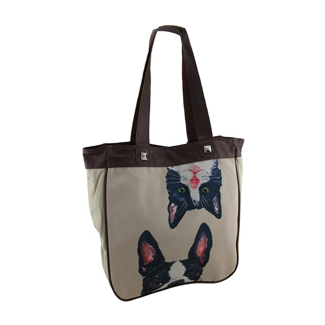 Silly Cat And Dog Canvas Tote Bag Womens Tote Bags