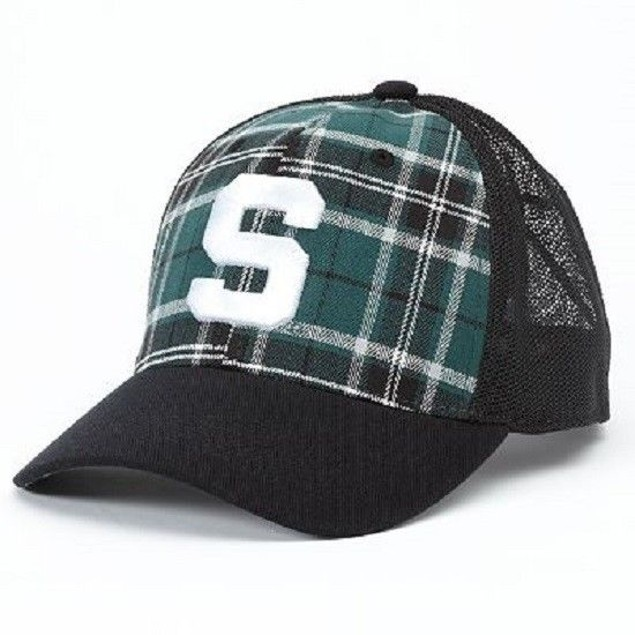 "Michigan State Spartans NCAA ""TOW"" Plaid Stretch Fitted Hat"