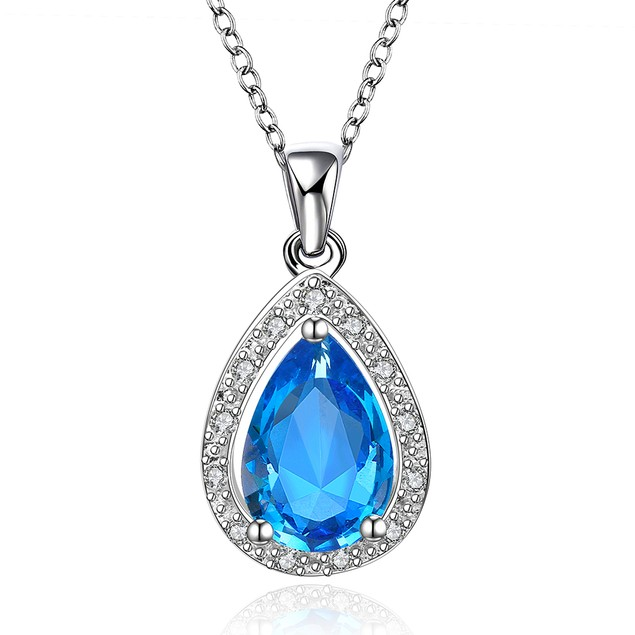 Water Drop Imitation Sapphire Austrian Crystal Necklace
