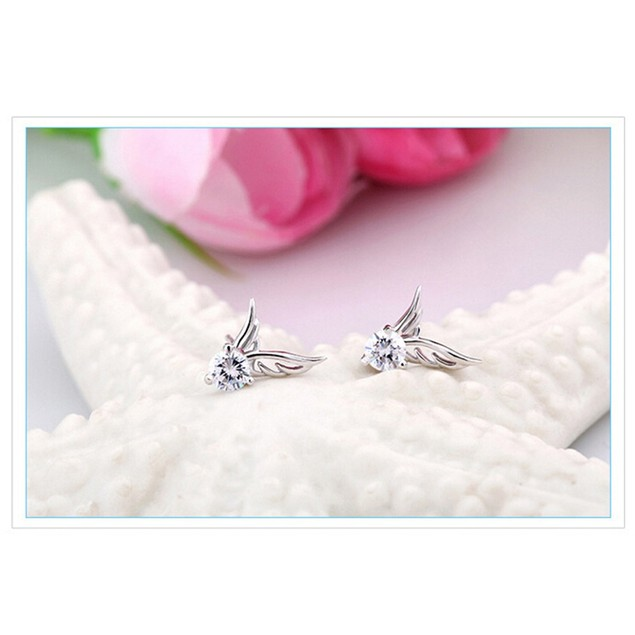 Cubic Zirconia Angel Wing Earrings