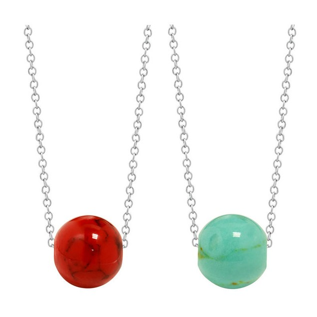Genuine Sterling Silver Coral or Turquoise Bead Necklace