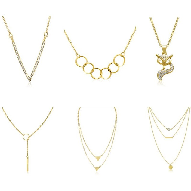Set of 6 Gold Tone Layering Necklaces