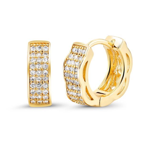 18kt Yellow Faded Goldtone Cubic zirconia  Huggie Earrings