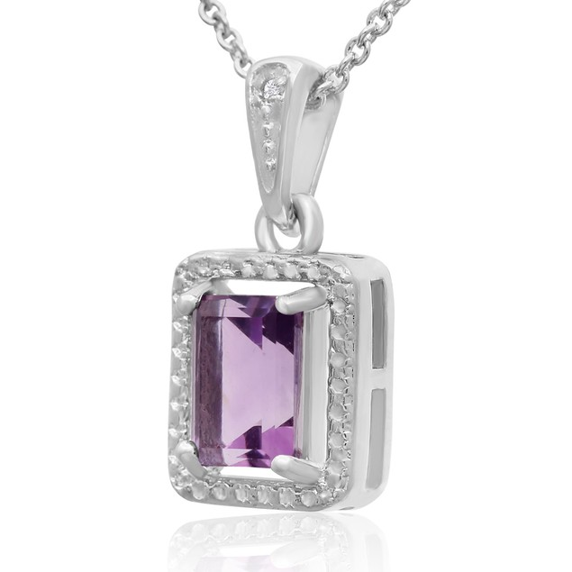 1 1/2 Ct Amethyst and Halo Diamond Necklace