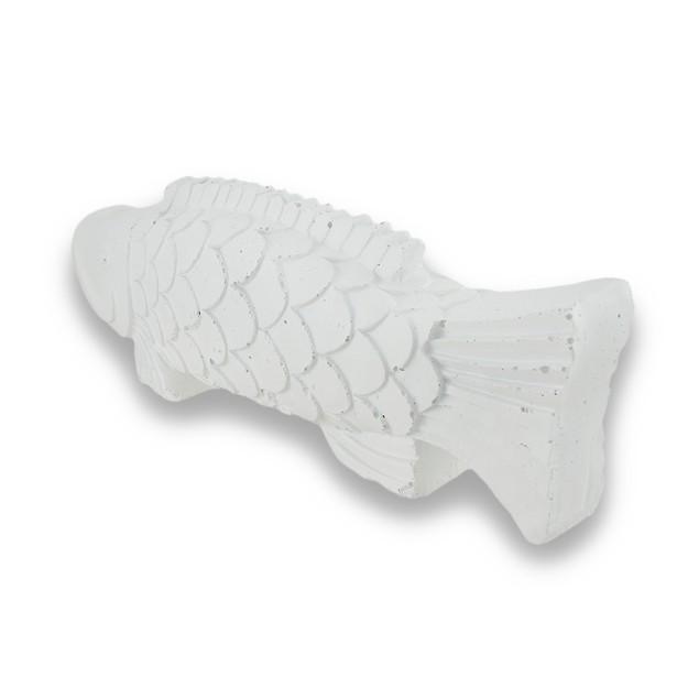 White Stone Look Fish Figurine Nautical Decoration Statues