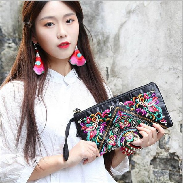 Handbag Vintage Woman Embroidery Small Bag Coin Case   Dragon