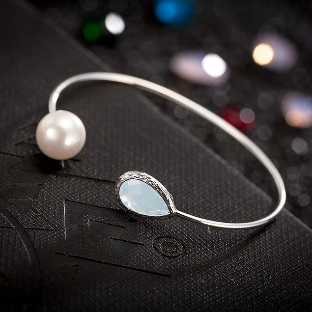 White Gold Plated Turquoise Gem & Pearl Open Ended Bangle