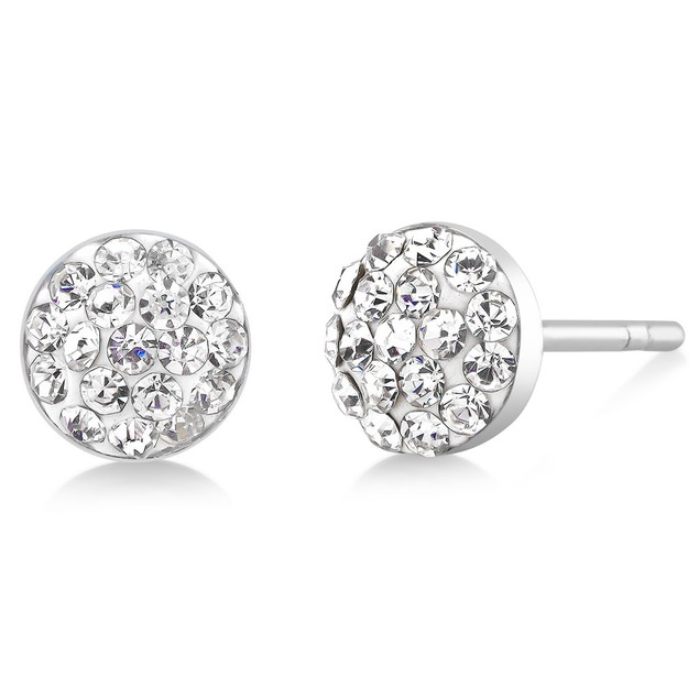 Colored Crystal Dome Stud Earrings - 4 Colors