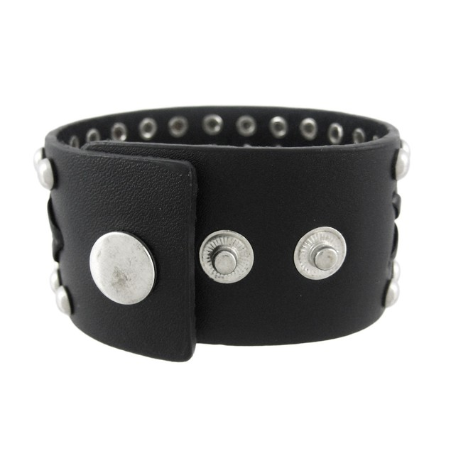 Black Leather Studded Laced Wristband Bracelet Mens Leather Bracelets