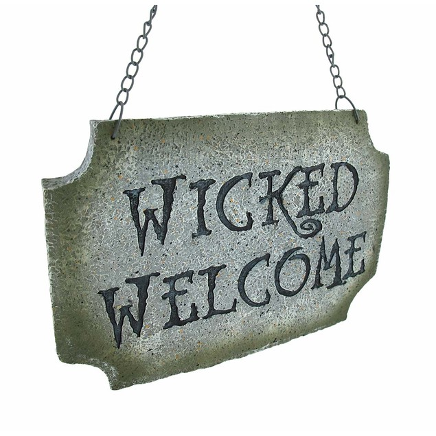 `Wicked Welcome` Stone Look Welcome Sign Outdoor Plaques