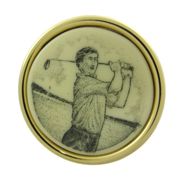 Gold Plated Scrimshaw Golfer Cufflinks Mens Cuff Links