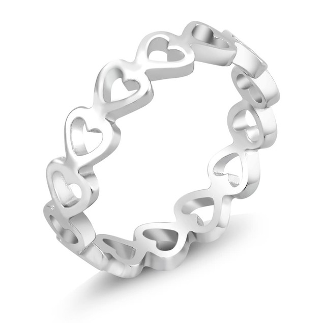 Open Heart Eternity Band Ring - 3 Colors