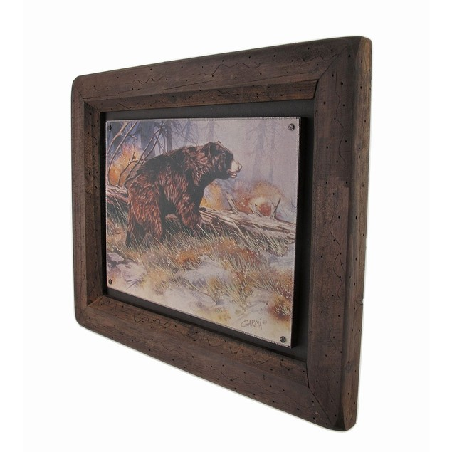 Big Sky Carvers Black Bear Bruin Wood Frame Wall Prints