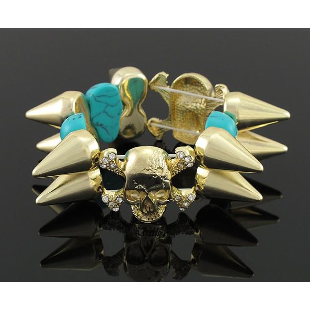 Gold-Tone Spiked Stretch Bracelet W/ Turquoise Womens Stretch Bracelets