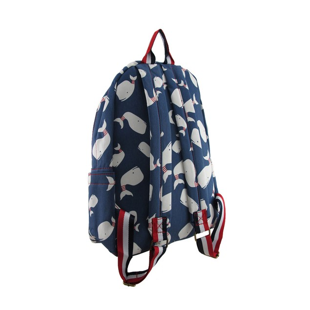 Red White And Blue Whale Print Cotton Canvas Basic Multipurpose Backpacks