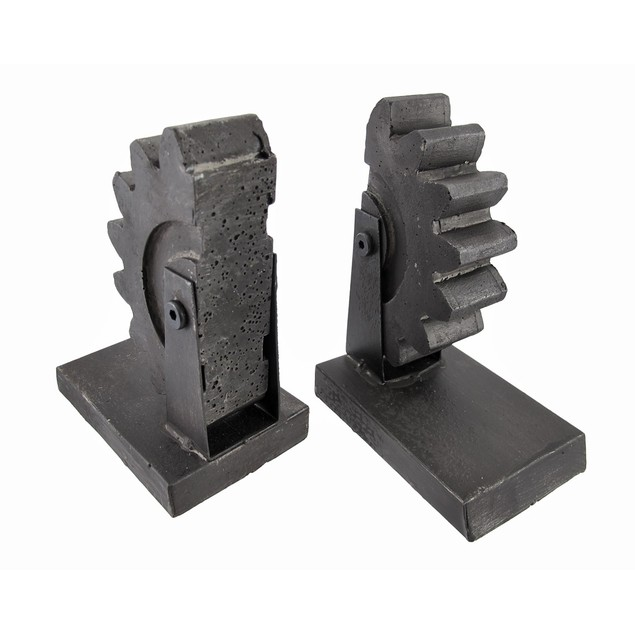 Pair Of Metal Gear Bookends Cast Iron Finish Decorative Bookends
