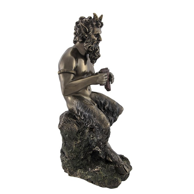 Bronzed Finish Pan Playing Flute Statue Greek Statues