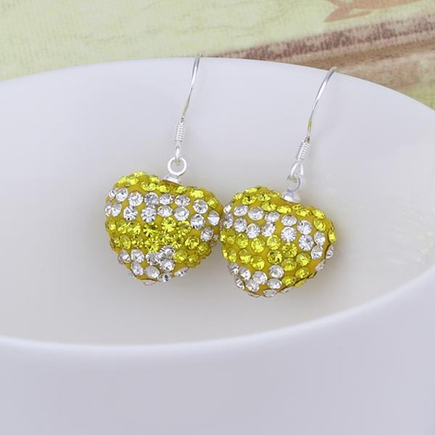 Austrian Stone Pave Heart Drop Earrings - Yellow