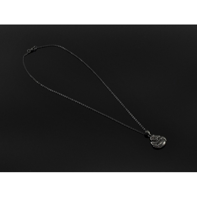 Gunmetal Happy Buddha Necklace 18 In. Chain Necklaces