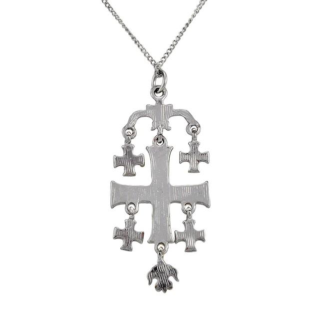 Jerusalem Cross Pewter Pendant W/ Link Necklace Mens Pendant Necklaces