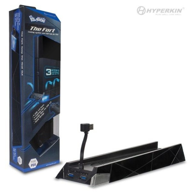 """PS4 """"The Fort"""" Vertical Cooling Stand with 4-Port USB 3.0 Hub - Polygon"""