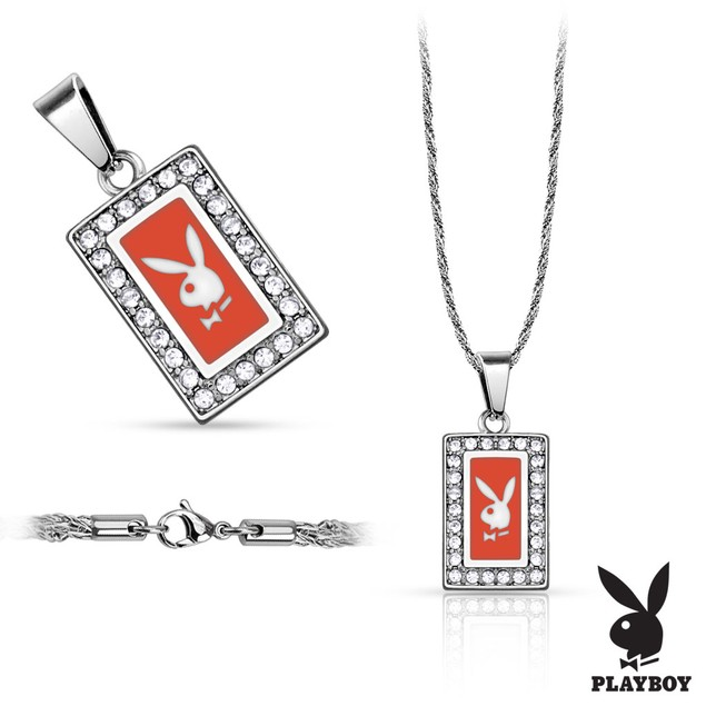 316L Stainless Steel Rope Chain with Square Playboy Logo Pendant