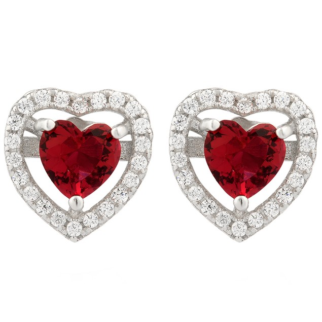 Sterling Silver Ruby Simulated Diamond Heart Earrings