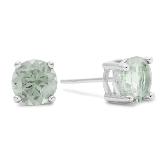 2 Ct Round Green Amethyst Earrings In Sterling Silver