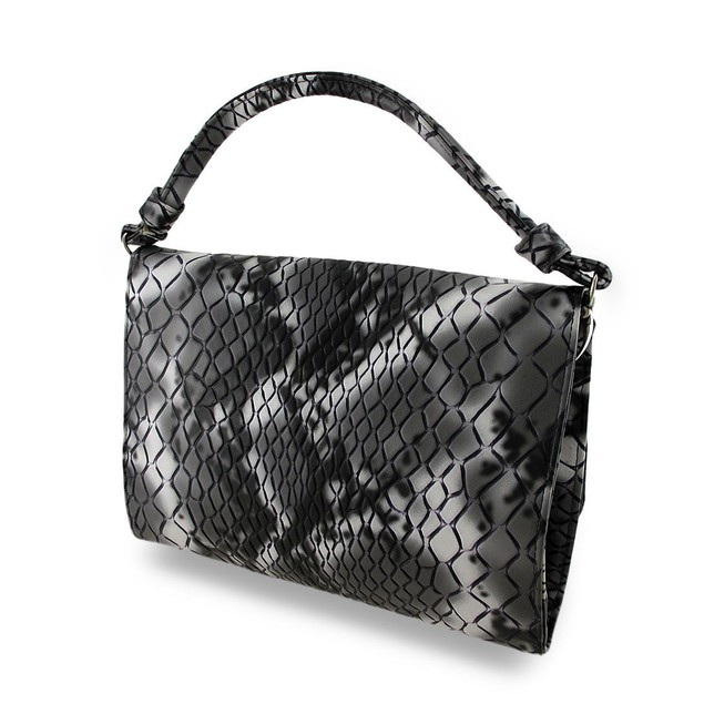 Black & Gray Faux Snakeskin Womens Clutch