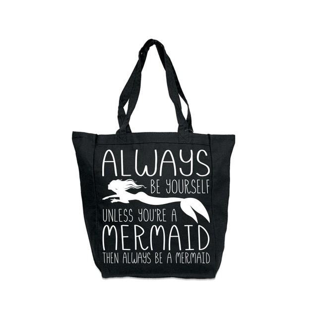 Always Be a Mermaid Black Tote Bag