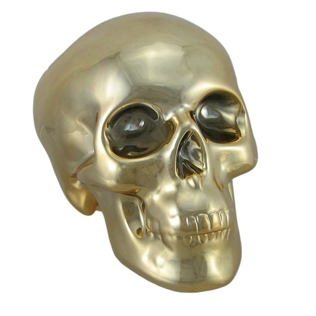Polished Gold Chrome Plated Ceramic Human Skull Toy Banks