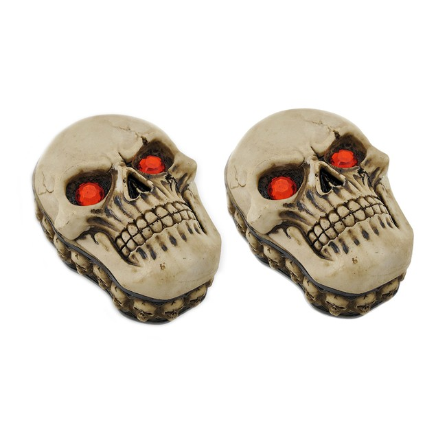Pair Of Blazing Red Eyed Sinister Skull Trinket Decorative Boxes