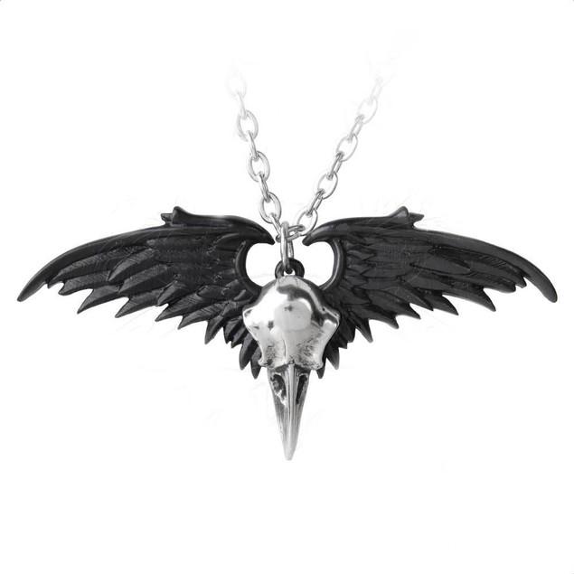 Alchemy Gothic Ravenger Black / Silver Winged Pendants