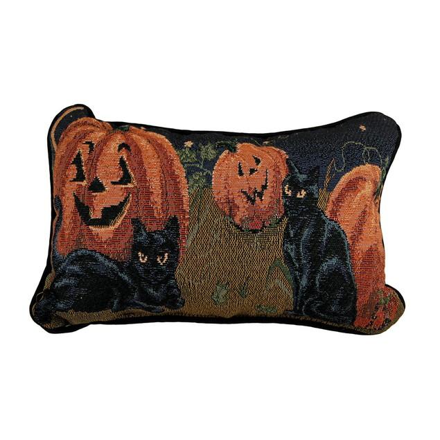 Black Cats And Pumpkins Decorative Autumn Accent Throw Pillows