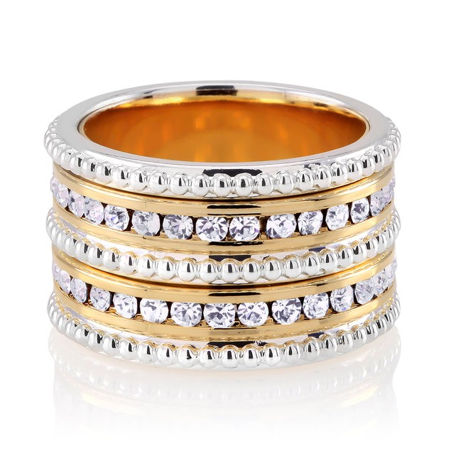 Fancy Gold Plated Preciosa Crystal Eternity Band Ring