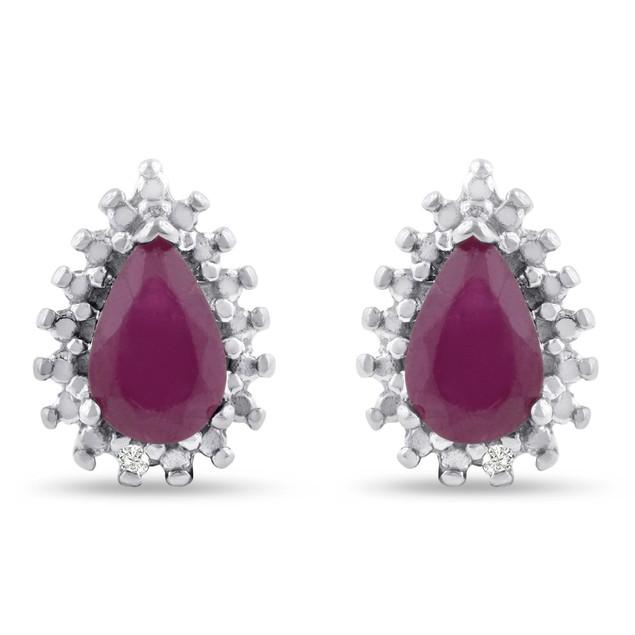 Pear Shape Ruby and Diamond Halo Stud Earrings