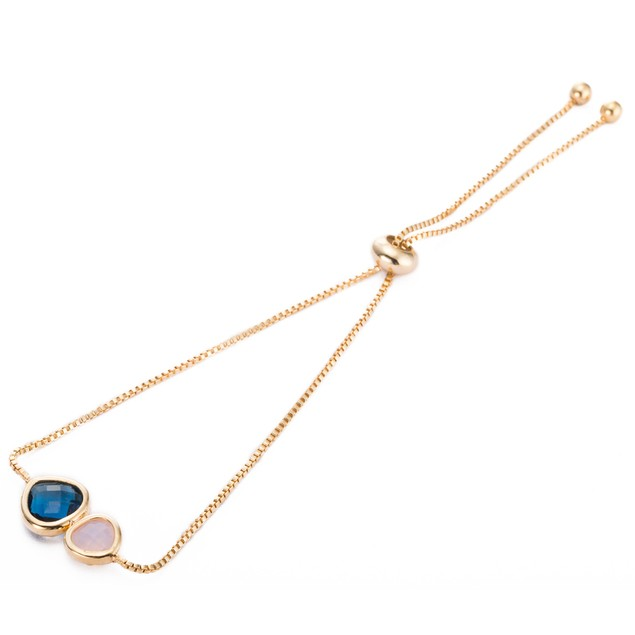 Gold Plated Duo Sapphire Crystal Gem Bracelet