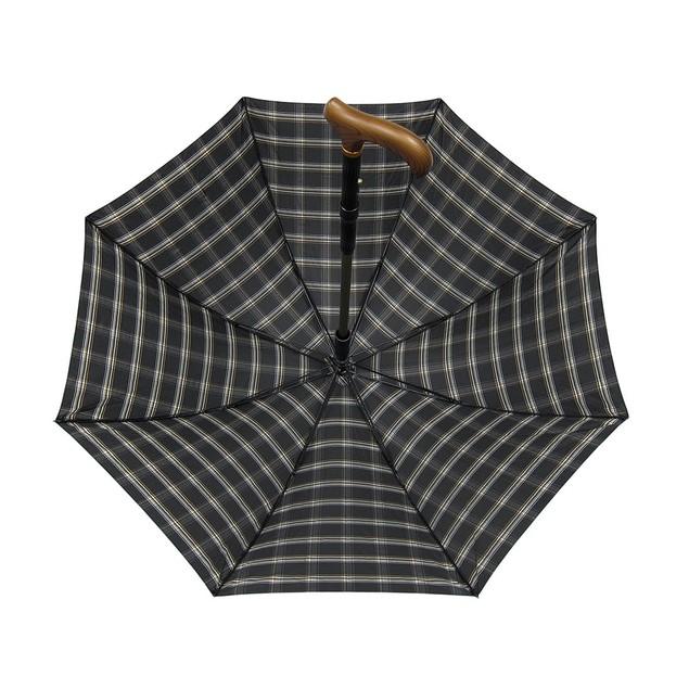 Black Plaid Nylon Umbrella W/ Hidden Extractable Walking Canes