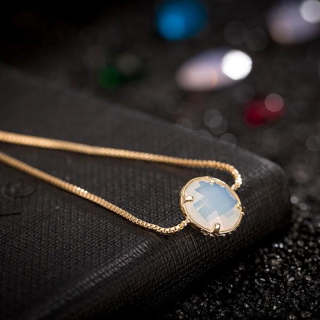 Gold Plated Circular Crystal Gem Bracelet