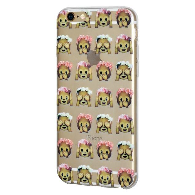 Soft Gel Graphic Emoji TPU Skin Case for iPhone 7 - See Speak Hear No
