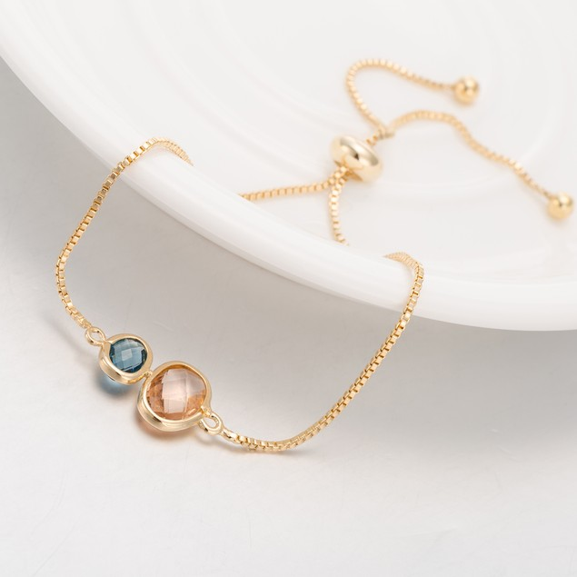 Gold Plated Duo Circular Coral & Turquoise Gem Bracelet