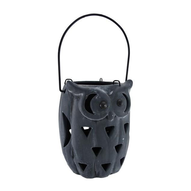 Ceramic Owl Cut-Out Design Candle Lantern Blue Decorative Candle Lanterns