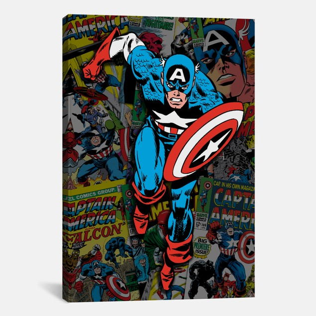 Marvel Comics Captain America Covers Collage Print