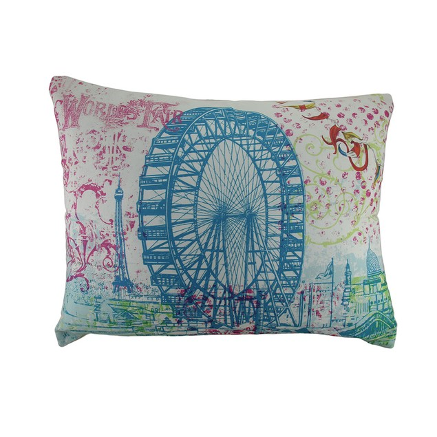 19X24 In. Giant World's Fair Ferris Wheel Colorful Throw Pillows