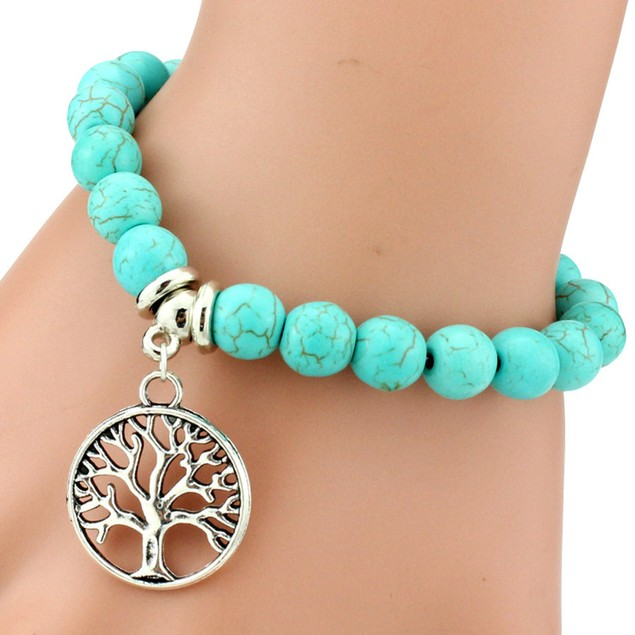 Tree Charm Turquoise Stone Bracelet