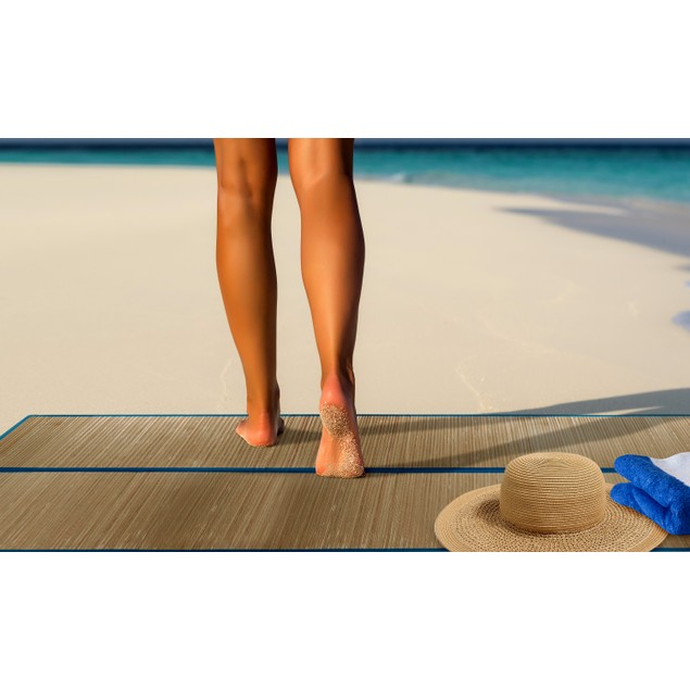 Deluxe Folding Straw Beach Mat With Handles