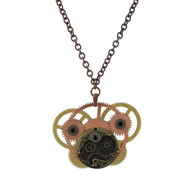 Steampunk Brass And Copper Watch Gear Necklace 28 Mens Pendant Necklaces