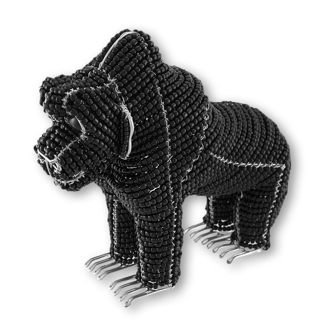 Beadworx Black Gorilla Glass Bead Sculpture Statues