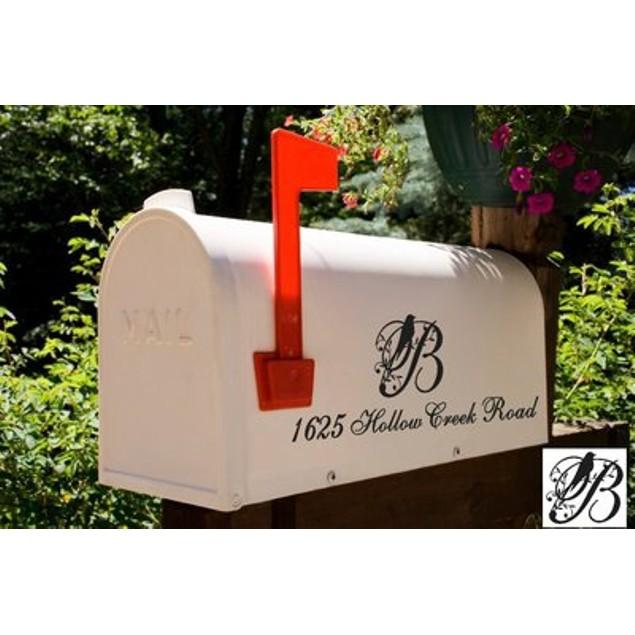 Bird Initial Mailbox Address Decal